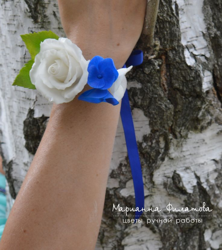 handmade flowers . cold porcelain.Bracelet for witnesses