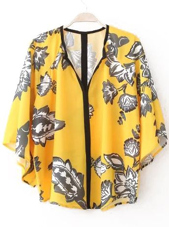 Yellow Batwing Short Sleeve Floral Loose Blouse 14.33