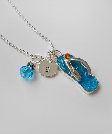 Another great find on #zulily! Turquoise & Sterling Silver Flip-Flop Initial Pendant Necklace by The Sassy Apple #zulilyfinds