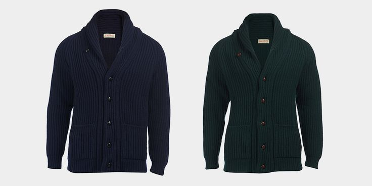 With the use of Scotland's finest lambswool, Scott and Charters offer Mandon a modern shawl collar cardigans available in three colorways.