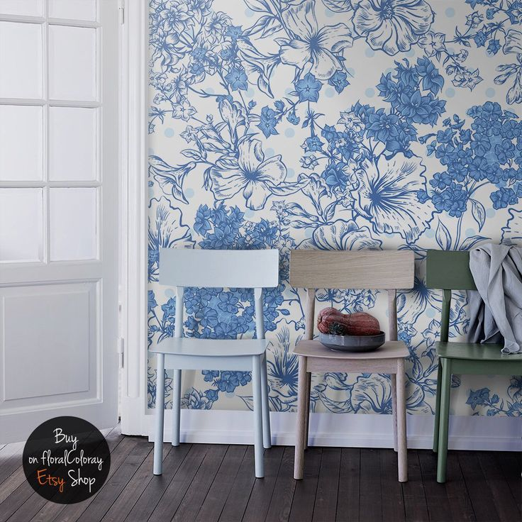 Summer bouquet wallpaper Blue floral wall mural