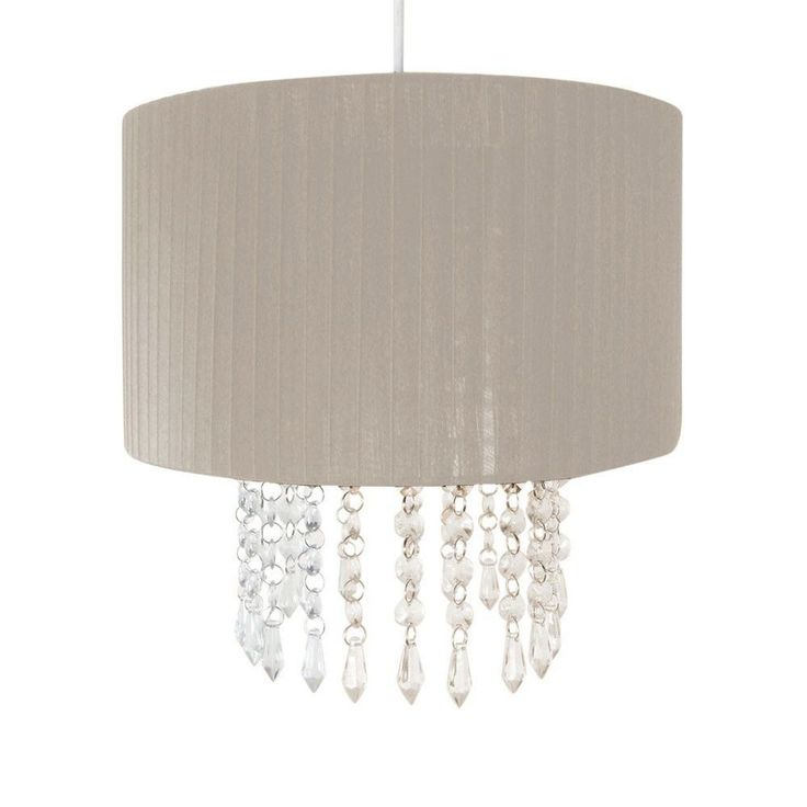 Dunelm Crystal Ceiling Lights : Details about crystal droplet fabric ceiling pendant light