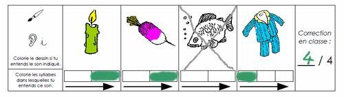L'enfant doit colorier le dessin s'il y entend le son demandé, et indiquer dans quelle syllabe se trouve ce son, en coloriant la case correspondante.  Cette série concerne les sons a, m, l, i, u, p, r, é, o, ou.