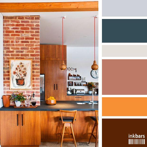 Tons terrosos como marrom, laranja e creme transmitem aconchego, rusticidade... O preto e os cinza azulados quebram o que poderia ter sido uma paleta monótona.
