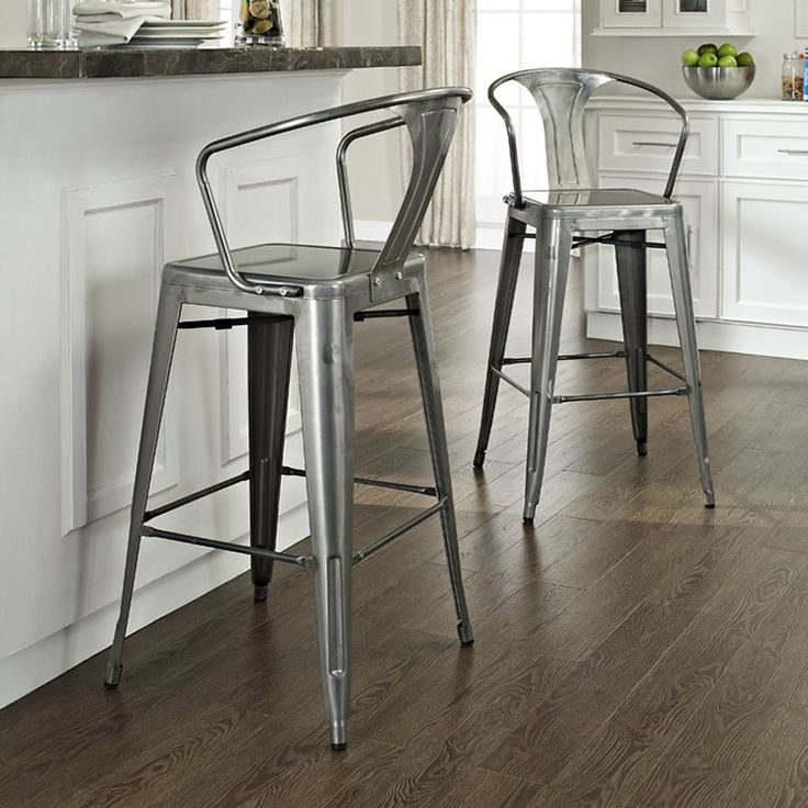 Shop Crosley Furniture Set Of 2 Amelia Galvanized 30-in Bar Stools at Lowes.com