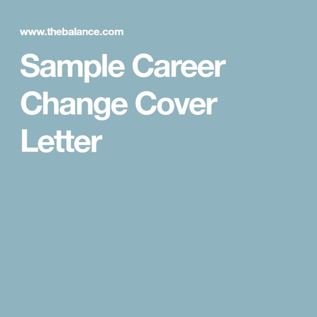 Sample Career Change Cover Letter