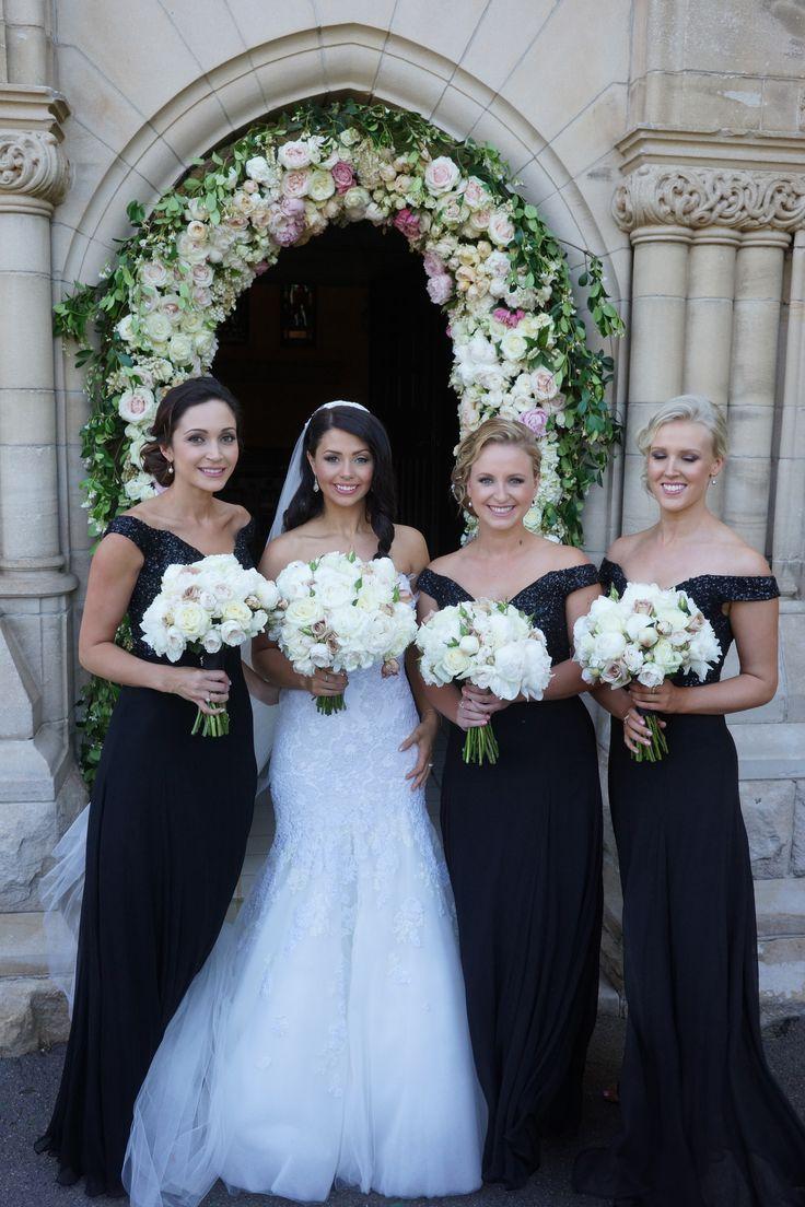 My beautiful bridesmaids. Black long dresses by Rachel Gilbert