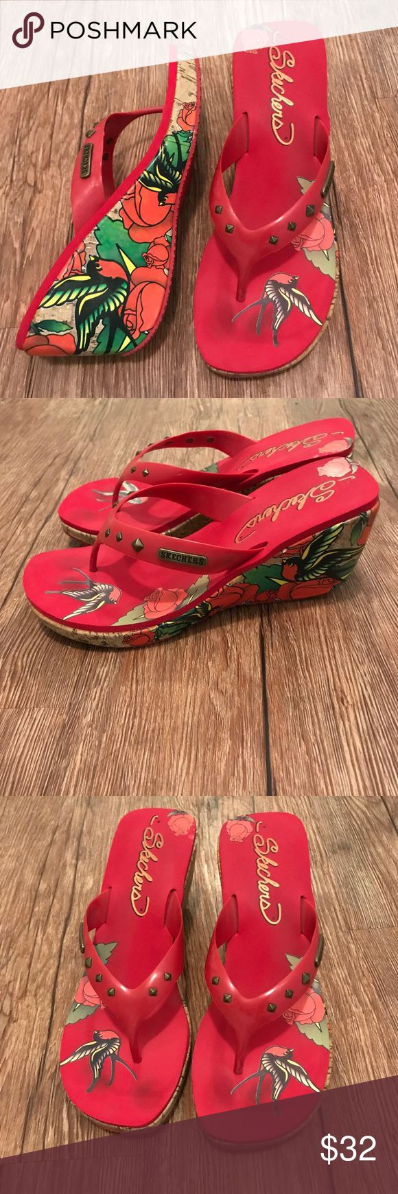 SALE Skechers rose bird red wedge heel sz 9 Skechers wedge high heel shoes with rose and bird tattoo style art work design. Size 9. No original box. Only wore these a times. GUC. Skechers Shoes Heels
