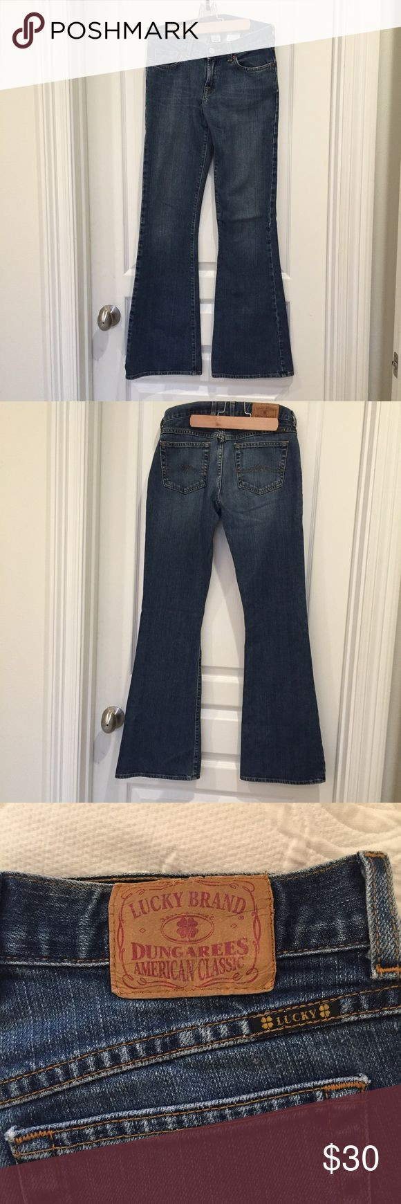 Lucky Brand Dungarees Lucky Brand Dungarees. Size 0. Mid rise flare. Lucky Brand Jeans