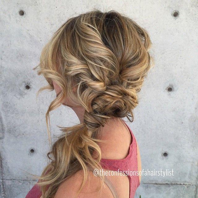 Twisty and curly side pony   we ❤ this!  moncheribridals.com  #weddingponytail #brialponytail #longweddinghair