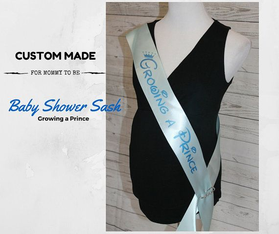 Check out Growing a Prince Sash - Disney Inspired Blue Baby Shower Sash for mommy to be to wear at Baby Shower or Baby Sprinkle, With a Rhinestone Pin on amysbubblingboutique