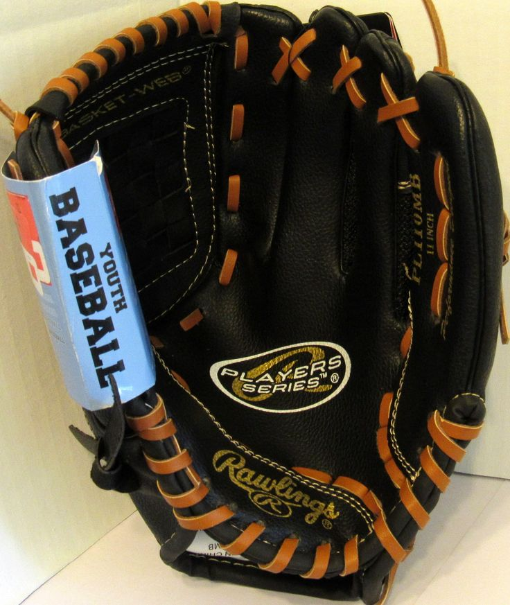 """Rawlings 11"""" Players Series Right-Handed Baseball Glove. Black with Tan Lacing. Rawlings Players Series 11-Inch Youth Baseball Glove Mitts. Pro Performance Designed, Basket-Web. Right-Hand Throw. Neoprene Flex Back for Quick and Easy Close."""