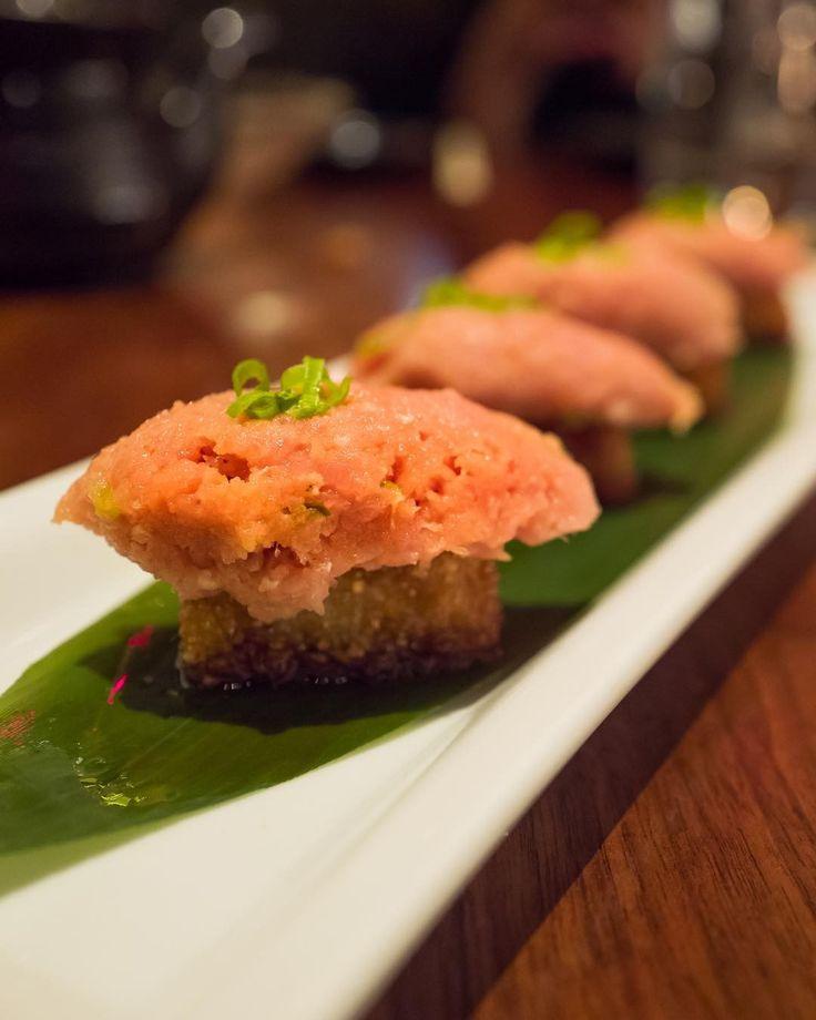 """Hanabi"" Spicy Tuna on crispy rice at the very impressive Sushi Roku. Thanks for having us! @sushirokunb . . . . . #eeeeeats | #food | #healthy | #foodporn | #foodgasm | #forkyeah | #nom | #recipe | #lunch |#yummy | #instafood | #delicious | #newportbeach | #california | #japanese | #sushi | #tuna | #infatuationla | #spicy |"