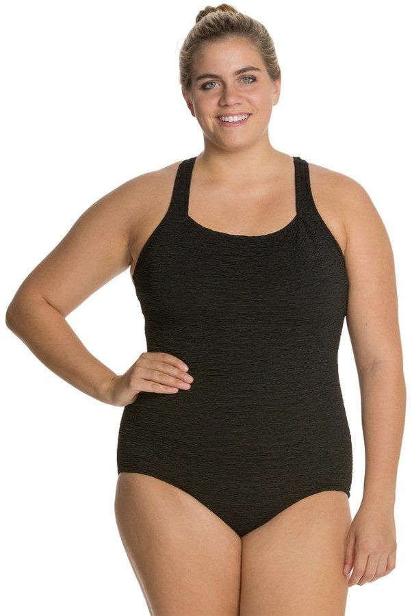 Penbrooke Krinkle Plus Size One Piece Active Back Chlorine Resistant Swimsuit 7534079