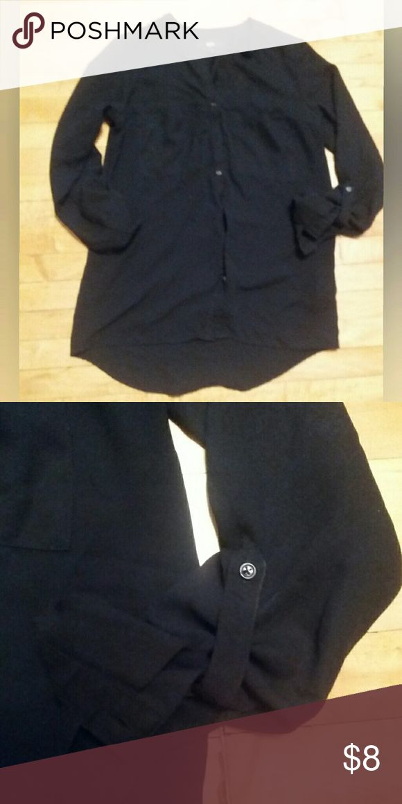 {Mossimo} Classic black tunic shirt Black drappy tunic style top. Size XS. Botton down. Sleeves can be rolled up to 3/4 length or worn down. Mossimo Supply Co. Tops Tunics