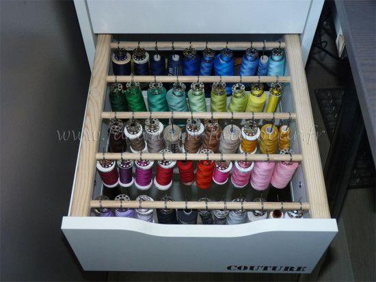 Un rangement couture pour vos bobines et fils à coudre !  #ALEX #couture #ikea                                                                                                                                                                                 Plus