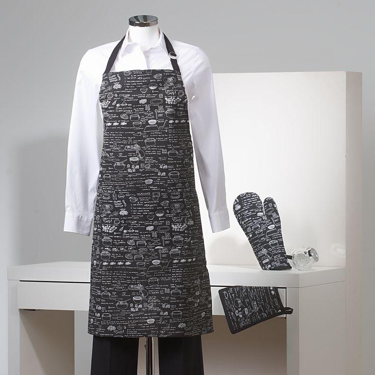 Delantal, paño para el horno y manopla. Color negro con estampado. www.sancarlos.es