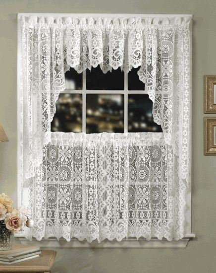 Hopewell Lace Kitchen Curtains U2013 Cream U2013 Lorraine   Country Kitchen Curtains