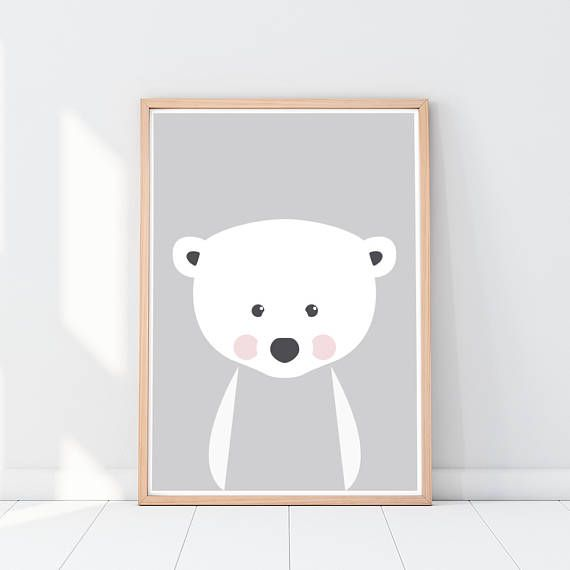Polar bear Nursery art print Animal nursery art Cute baby