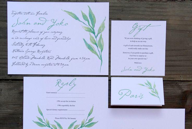 Print Co Studio @ Etsy, Green Watercolour Wedding Invite ($5.55)