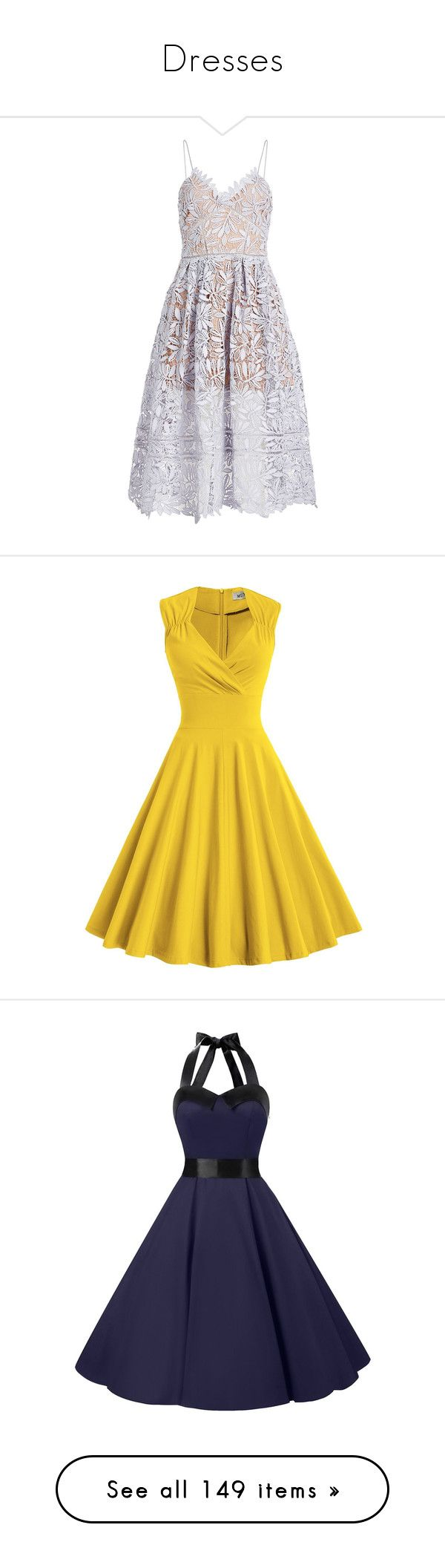 """""""Dresses"""" by thewizardingworld on Polyvore featuring dresses, blue, lace spaghetti strap dress, blue lace dress, tea party dresses, lace dress, blue dress, v neckline dress, yellow vintage dress and v-neck dresses"""