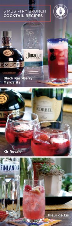 Whether it's a bridal shower, Mother's Day soiree or birthday celebration, the Black Raspberry Margarita, Kir Royale and Fleur de Lis are the perfect cocktails for any spring brunch party. Visit CheersToTheHost.com to get the recipes.