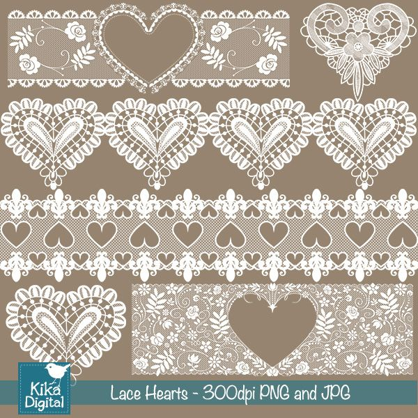 Heart Lace - 12 lace borders for scrapbooking, card design, embroidery and more.