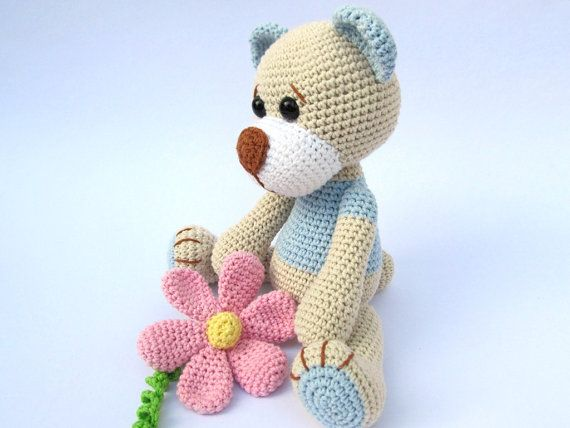 Amigurumi Flower Tutorial : Teddy with Flower- Amigurumi Crochet Pattern / PDF e-Book ...