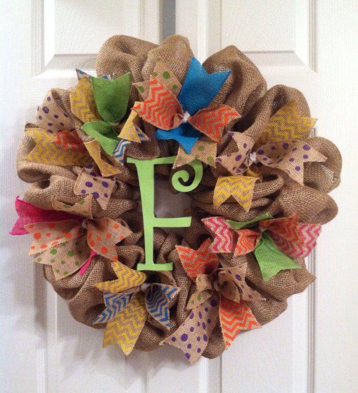 Summer Wreath/ Burlap Wreath/ Monogrammed Spring Wreath/Monogram Burlap Wreath/ Initial Burlap Wreath by Wreaths4u2byPaula on Etsy https://www.etsy.com/listing/229074267/summer-wreath-burlap-wreath-monogrammed