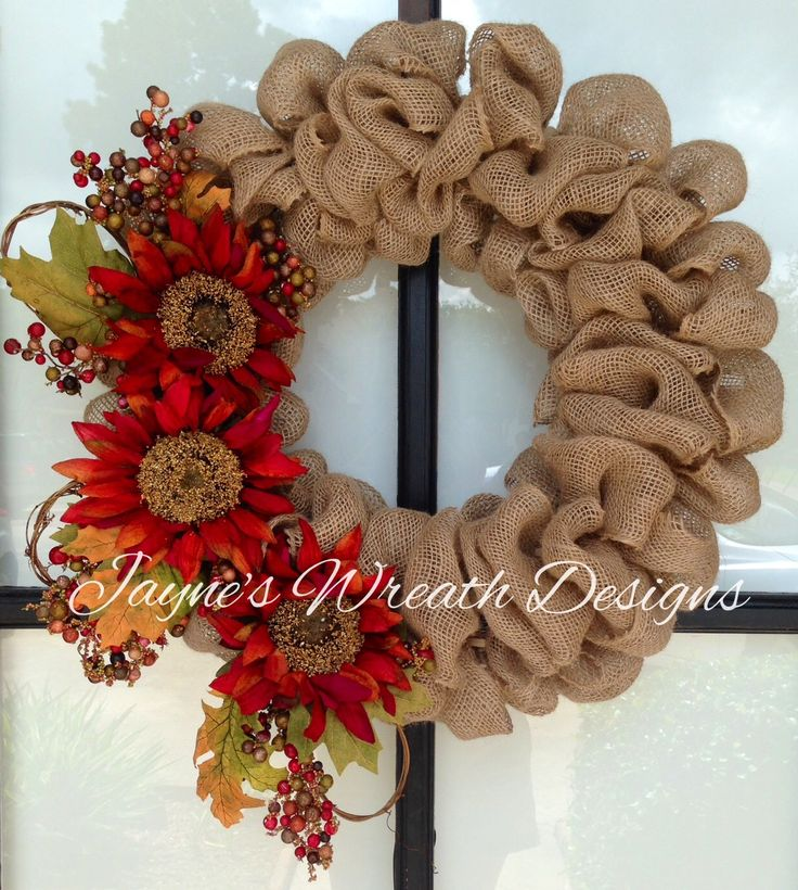 Fall burlap wreath with sunflowers wreaths garlands for Burlap ribbon craft ideas