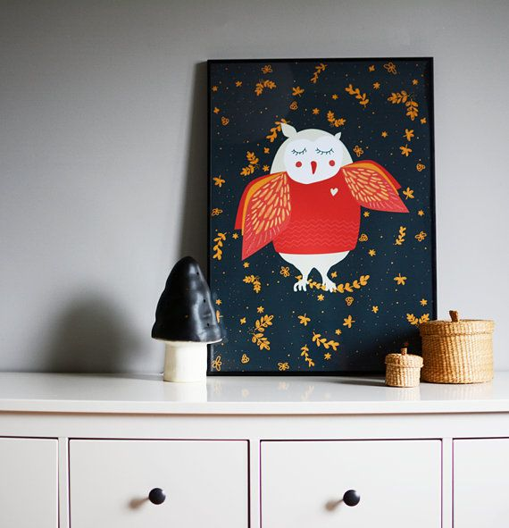 ARTIST INSPIRATION Owl - something for kids  MATERIAL DESCRIPTION * 170g paper * rolled and mailed in a sturdy tube mailer * print comes with