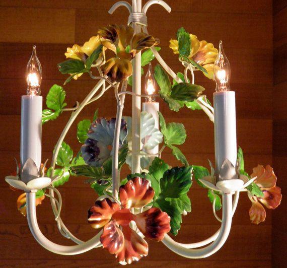 Vintage Chandelier Antique Tole Italian Fl Flowers In Pristine Condition 139