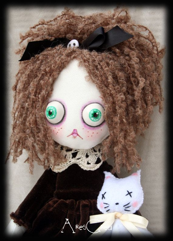Crazy Suzie creepy cute goth cloth doll with big by AresCrea