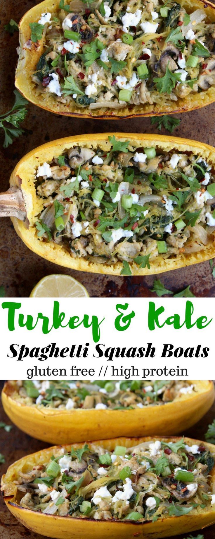 An easy weekday meal, these Turkey & Kale Spaghetti Squash Boats pack veggies, healthy carbs and fats, and lots of protein for a satisfying and well balanced dinner - Eat the Gains