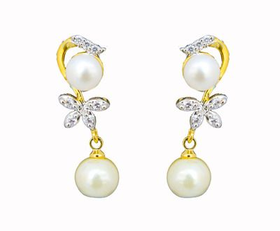 Classique Designer Jewellery Gold-Plated Stud Earring  Women (WHITE) Necklaces and Necklace Sets on Shimply.com