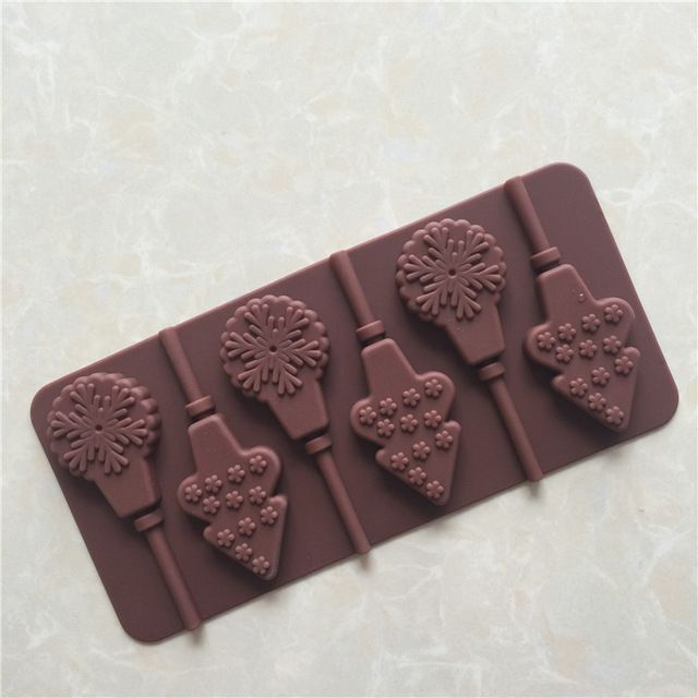6 even snowflakes Christmas tree lollipop silicone chocolate mould ice tray mold chocolate easy off exit