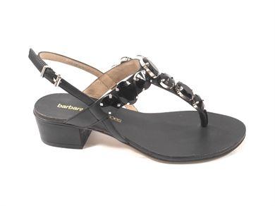 Sandalo infradito in vitello con pietre e cinturino sul tallone, tacco grosso alto cm. 4