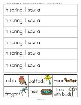 """***FREE***   SPRING cut and paste sentences - Cut and paste the labeled spring pictures to finish the 12 sentences. Because of the repetition at the beginning, and the picture clue at the end, the children are able to predict what the sentences say, and are able to """"read"""" them. 2 pages."""