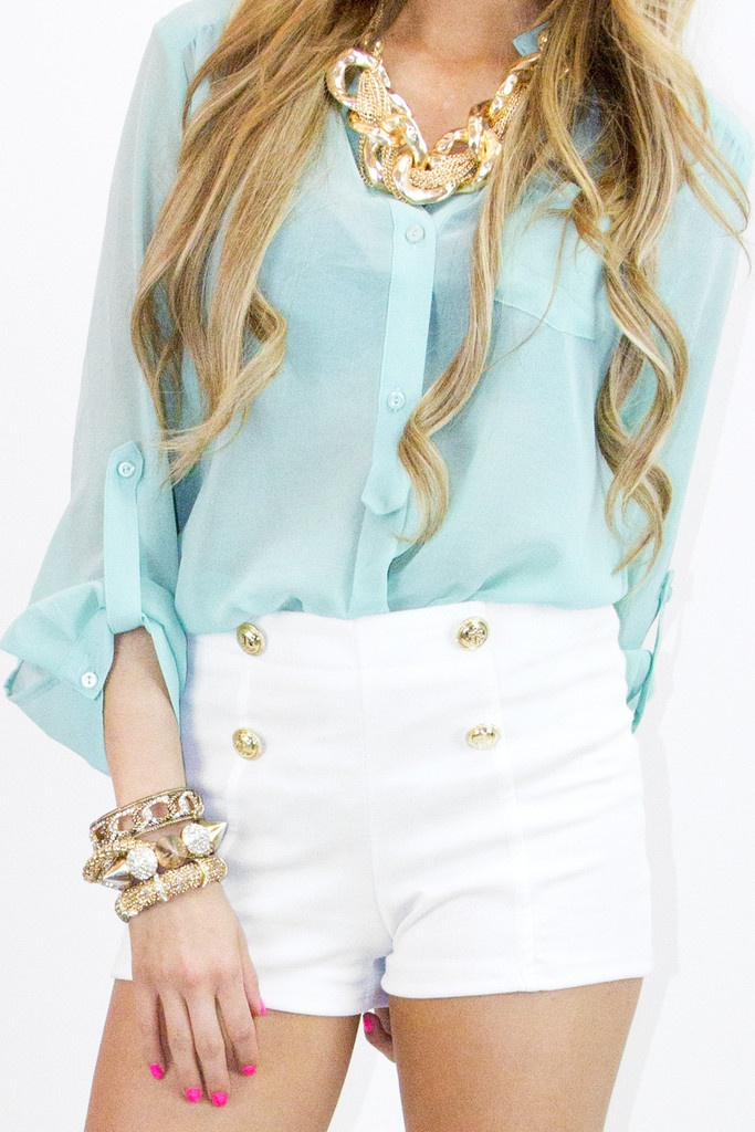 high waisted shorts. gold accents. pastel sheer shirt. my name written alllllll over it