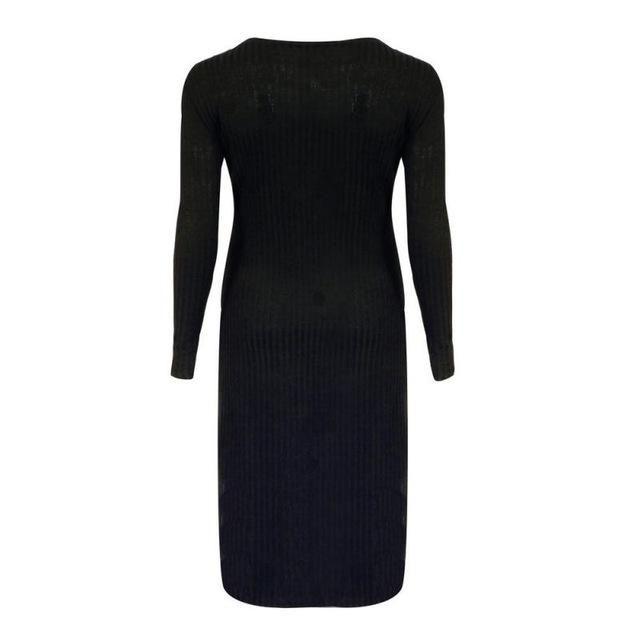 Women Vestidos Party Dress Autumn Winter Dress Plus Size O-Neck Long Sleeve Slim Slit Knit Tights Stretch Solid