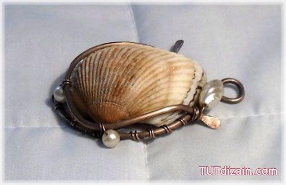 Кулон из ракушки (процесс оплетения ракушки проволоки) » Планета рукоделия