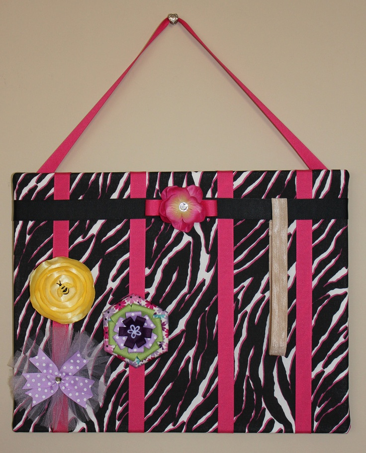 Black  White Zebra with Hot Pink Accents Hair Bow Organizer-Room Decor, Nursery Decoration, Little Girl's Room