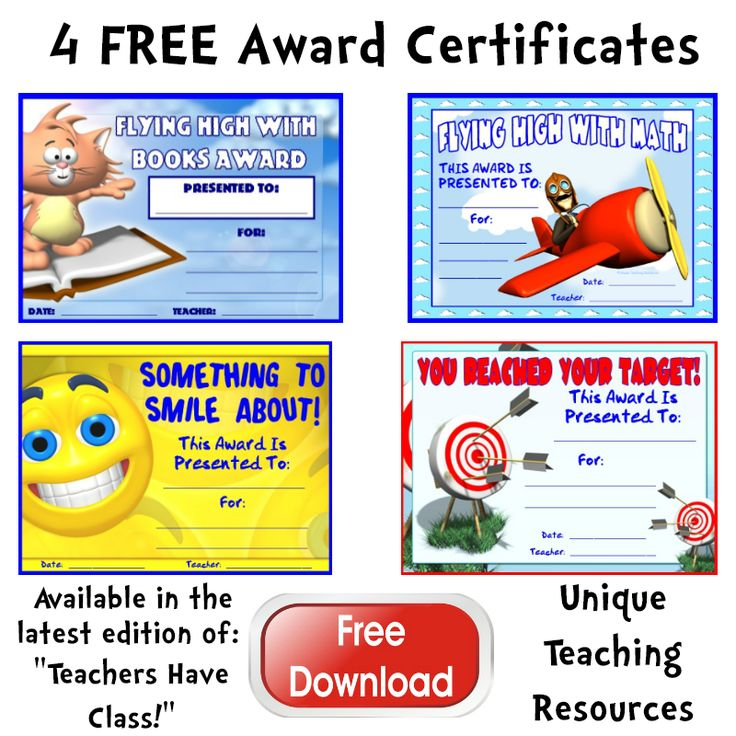 """Download these 4 awards in the FREE RESOURCES section of """"Teachers Have Class!""""   Click here to view the latest edition of our newsletter and download these award certificates: http://conta.cc/1yNJbXB  These free downloads are only available from: August 18 - 24, 2014.  Sign up to receive our free newsletter (and our next set of free downloads!) on this page:  http://www.uniqueteachingresources.com/teachers-have-class-newsletter.html"""