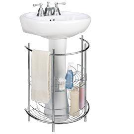 Pedestal Sink Organizer Under Sink Storage Curved Wire Shelves Solutions We Know