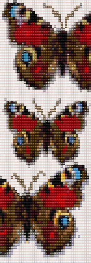 3 Butterflies Peyote Bracelet Beading Pattern for Advanced Beaders Pattern Loom Or 2 Drop Peyote