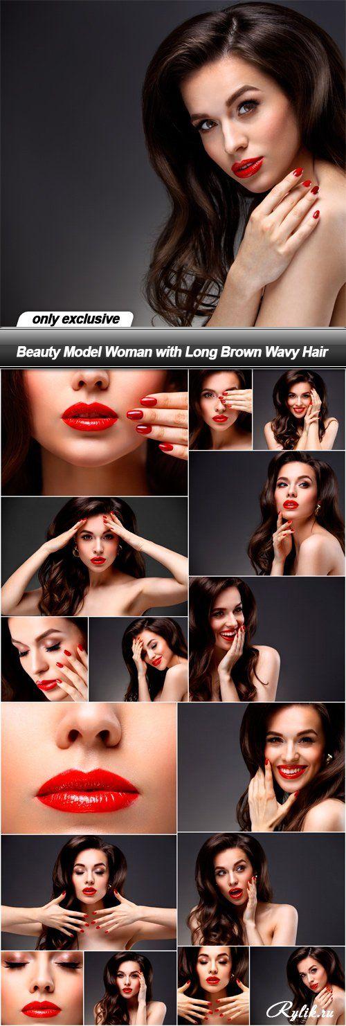 Девушка с красной помадой на губах, фотомодель с длинными волосами фото