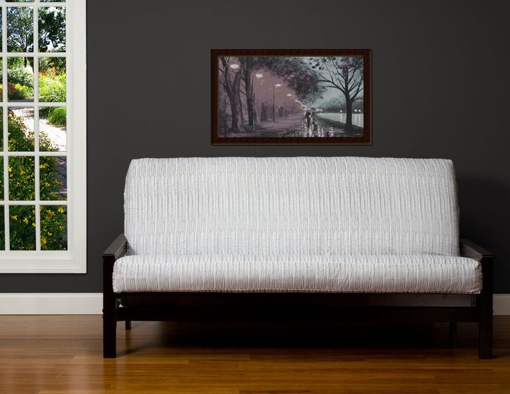 Wavelength Grey White Solid Contemporary SIS Futon Cover Choose Size!!! #SIS