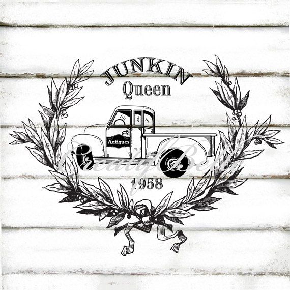 Vintage Junkin Queen Old Chevy Truck Large Black and White Instant Digital…
