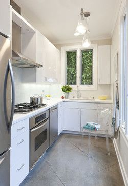 Small Kitchen Flooring Design Ideas, Pictures, Remodel and Decor- white cabinets and large grey tile