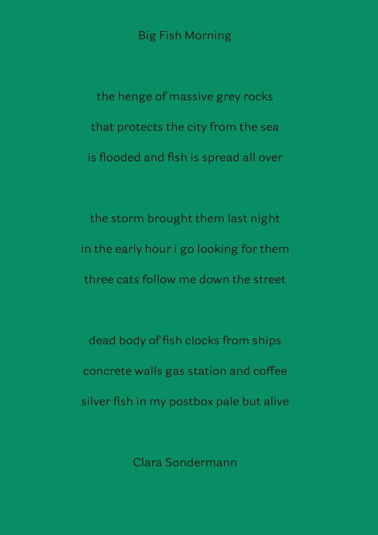 Clara Sondermann (Germany) Big Fish Morning, Poetry.
